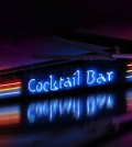 Coctail bar neon sign glowing