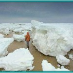 Icebergs continually washing up on beaches making surfing a real challenge.